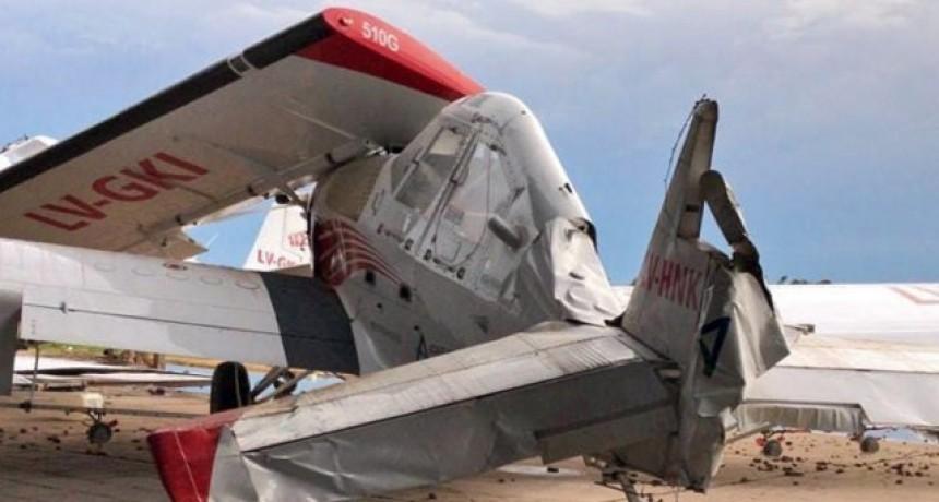 La tormenta provocó destrozos en un aeródromo privado cerca de Alvear