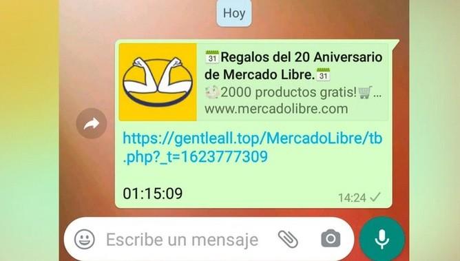 Estafa por WhastApp: el falso mensaje viral que ofrece productos gratis por el aniversario de Mercado Libre
