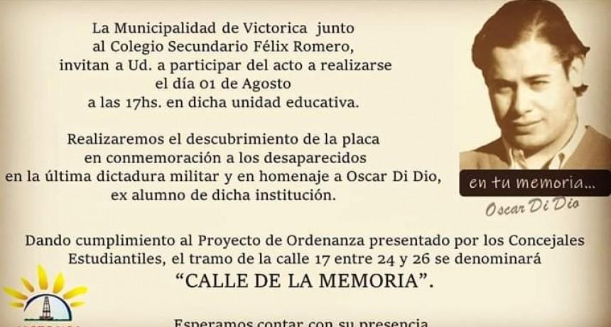 UNA DE LAS CALLES DE VICTORICA PASARÁ A LLAMARSE «CALLE DE LA MEMORIA»