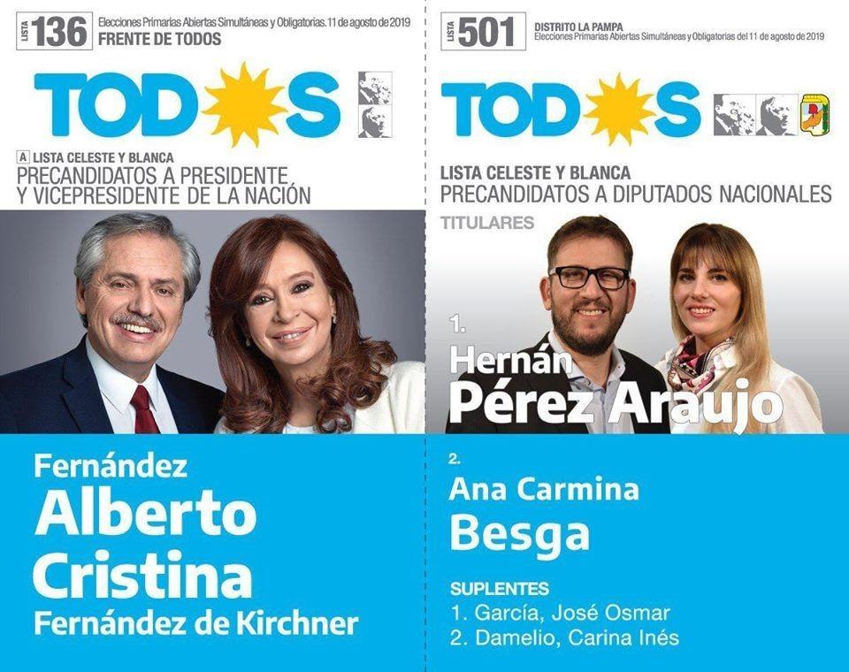 VICTORICA: GANO EL FRENTE DE TODOS POR MAS DE 1000 VOTOS DE DIFERENCIA