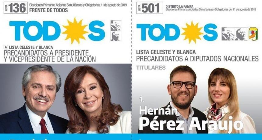 EL FRENTE DE TODOS GANO EN TELEN, CARRO QUEMADO, LUAN TORO Y LOVENTUE POR MAS DEL 50%