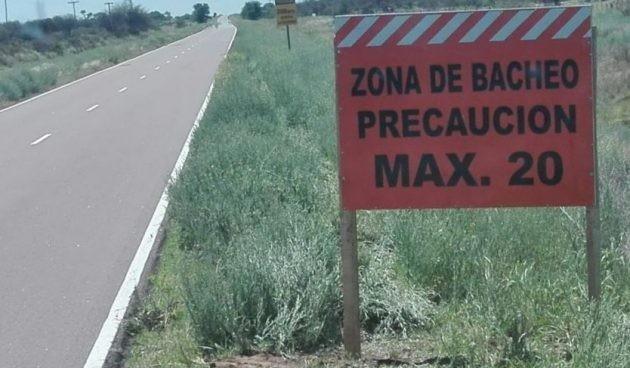 Trabajos en la ruta puntana de Nueva Galia al limite con La Pampa